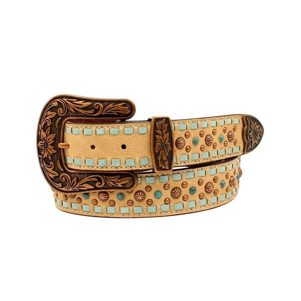 Nocona Western Belt Womens Leather Laced Edges Studs