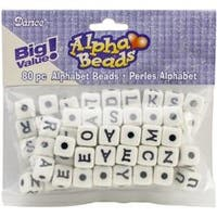 White W/Black Letters - Alphabet Beads 12Mm 80/Pkg