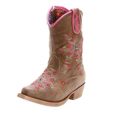 Blazin Roxx Western Boots Girls Savvy Cowboy Floral Brown