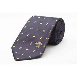 Versace Men's Medusa Logo Dotted Pattern Silk Neck Tie