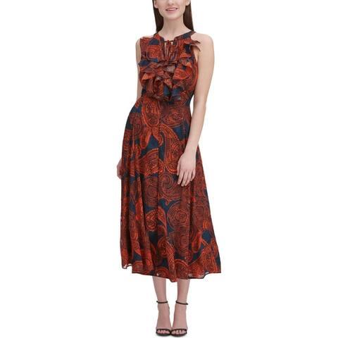 Tommy Hilfiger Womens Midi Dress Ruffled Pasiley - Red/Navy