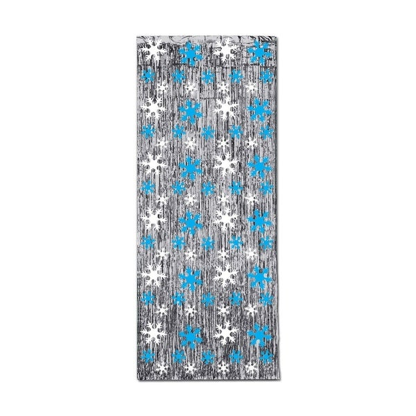 Pack of 6 Christmas Snowflake Gleam 'N Silver Fringed Curtain 8'