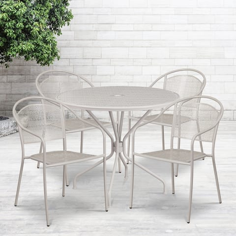35.25'' Round Indoor-Outdoor Steel Patio Table Set with 4 Round Back Chairs