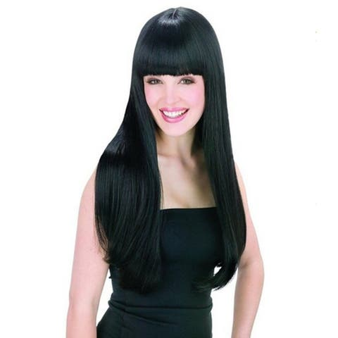 "25"" Cosplay Hair Wig Straight with Flat Fringe Bangs Full Wig Natural Black - M"