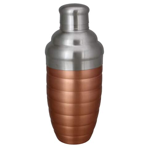 Copper Finished Ribbed Stainless Steel Martini Cocktail Shaker 17oz