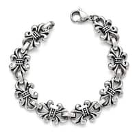 Chisel Stainless Steel Polished and Antiqued Fleur de Lis Bracelet