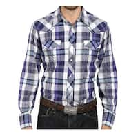 Roper Western Shirt Mens Plaid L/S Snap Purple