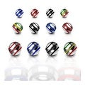 10 Pieces Pack Surgical Steel Stripe Ball - 16GA (4mm Ball) - Thumbnail 0