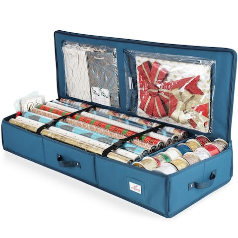 "Hearth & Harbor Premium Christmas Gift Wrap Storage Organizer Box - 14""x40""x6"""