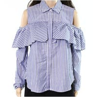 Harlowe & Graham Blue Womens Size Large L Striped Ruffled Blouse