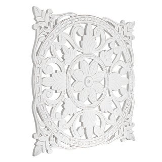Link to American Art Decor Hand-Carved Square Floral Wood Wall Art - White Similar Items in Decorative Accessories