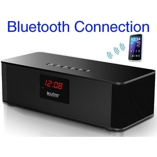 Boytone BT-87CR Bluetooth 4.1 Portable Alarm Clock Radio Wireless Speaker, Digital FM Tuning Built–in Rechargeable Battery, Mic,