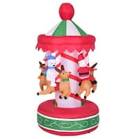 Costway 6.5' Indoor/Outdoor Inflatable Whirligig Santa Ride Christmas Holiday Decoration