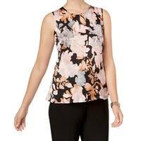 Kasper Pink Women's Size Large L Floral-Print Jewel Neck Blouse