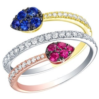 Prism Jewel 0.90CT SI2 Blue Sapphire & Pink Ruby Gemstone with G-H/I1 Natural Diamond Bypass Ring