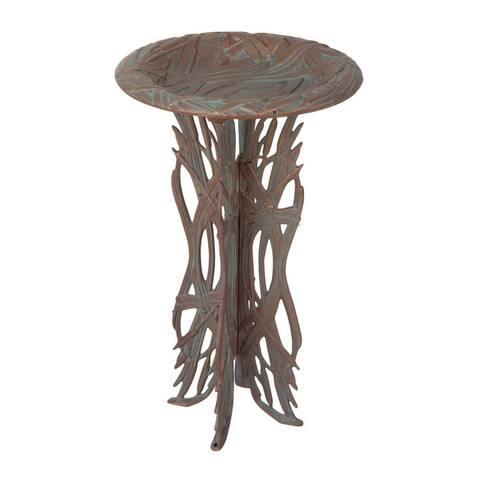 Whitehall Dragonfly Birdbath and Pedestal (Copper Verdigris) - copper verdigris