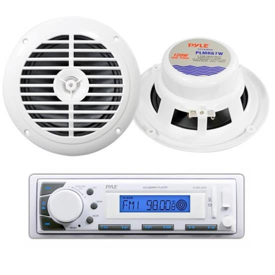 """Pyle Marine Stereo AM/FM Receiver USB/SD iPod/MP3 Player + 2 x 120W 6.5"""" Speakers"""