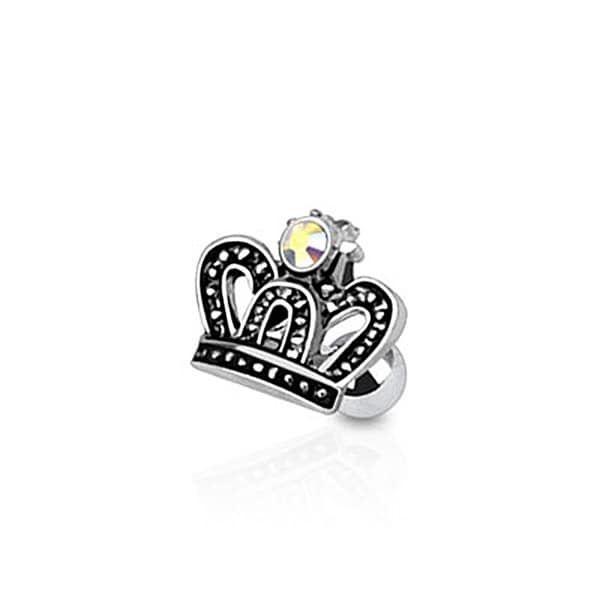 Royal Crown with CZ Tragus/Cartilage Piercing Stud 316L Surgical Steel (Sold Ind.)