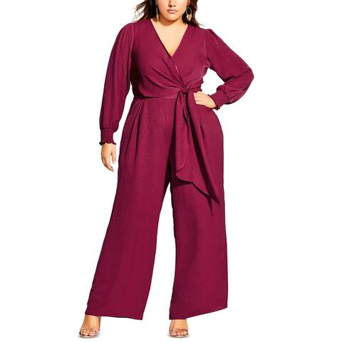 City Chic Women's Trendy Plus Size Synthesis Jumpsuit Red Size Small
