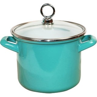 "Link to Calypso Basics by Reston Lloyd Enamel on Steel Stockpot with Glass Lid, 2.5-Quart, Tuquoise -  9.25"" x 7.5"" x 8"" Similar Items in Cookware"