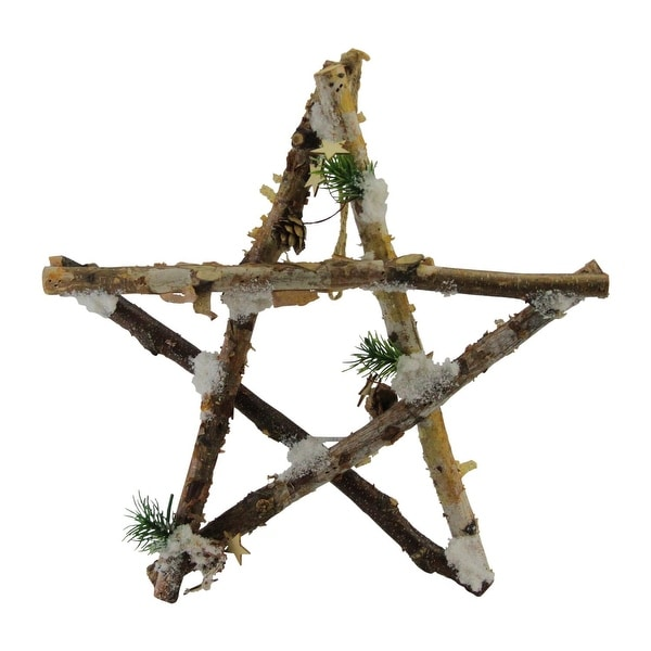 """13.75"""" Medium Rustic Snowy Wooden Branch Star Shaped Christmas Ornament - brown"""
