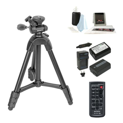 Sony VCT-R640 21 to 56-Inch 4-Section Tripod with Accessories Bundle