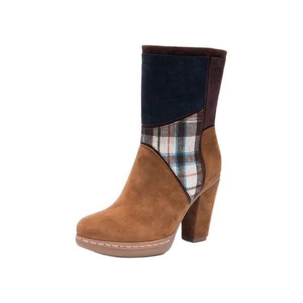 Muk Luks Boots Womens Nola Faux Fur Lined Zip Up Multi-Color