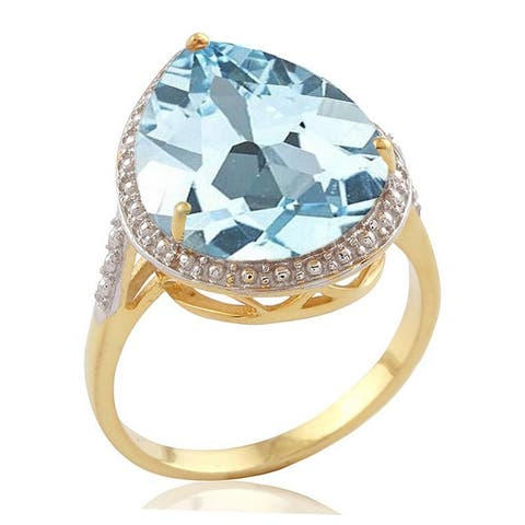 18KT Yellow Gold Over Sterling Silver Sky Blue Topaz Tear Drop Solitaire Ring