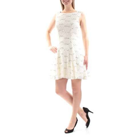 Womens Ivory Gold Sleeveless Mini Fit + Flare Party Dress Size: 9