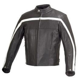 Men Motorcycle Biker Old School Armor Leather Jacket Black MBJ023
