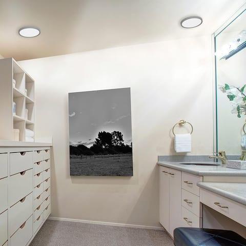 Edge Round 8-inch ADA Satin Nickel LED Outdoor Flush Mount, White Acrylic Shade