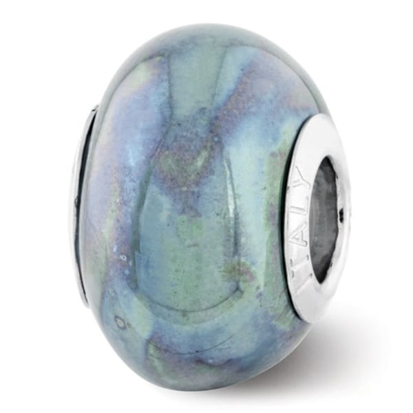 Italian Sterling Silver Reflections Blue/Grey Ceramic Bead (4mm Diameter Hole)