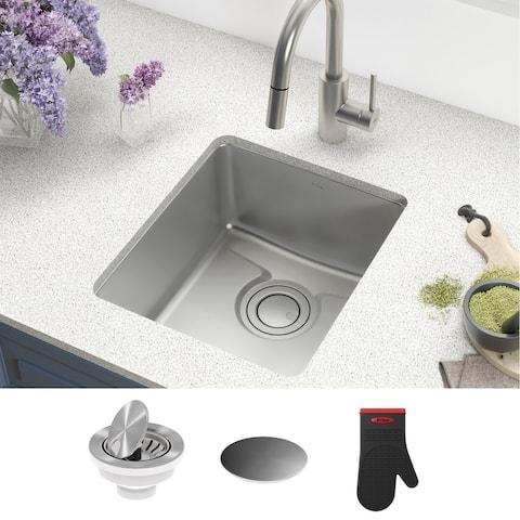KRAUS Dex Stainless Steel 17 inch 1-Bowl Undermount Kitchen Bar Sink