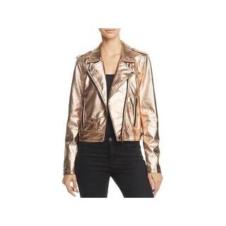 Blank NYC Womens Motorcycle Jacket Metallic Faux Leather