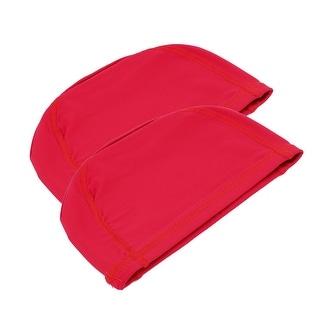Adults Sports Swim Swimming Elastic Fabrics Flexible Cloth Caps Hat Red 2pcs
