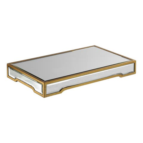"""Uttermost 18903 Carly 18"""" Wide Beveled Glass Serving Tray by Grace - Standard / Gold"""