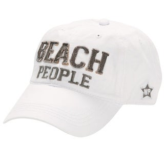 Pavilion Gift Company Women's White Beach People Ball Cap Hat with Applique - LARGE