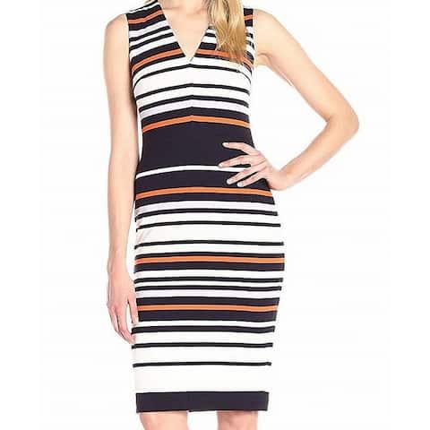 Maggy London Black Womens Size 12 Striped V-Neck Sheath Dress