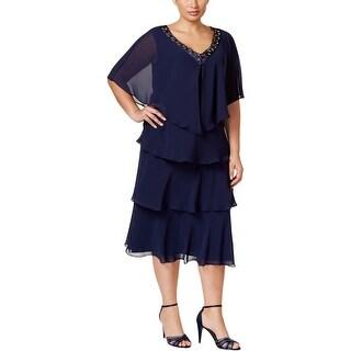 SL Fashions Womens Plus Dress With Jacket 2PC Embellished