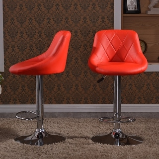 Belleze Set of 2 Faux Leather Adjustable Bar Stools Back Counter Height Swivel Stool (Red)