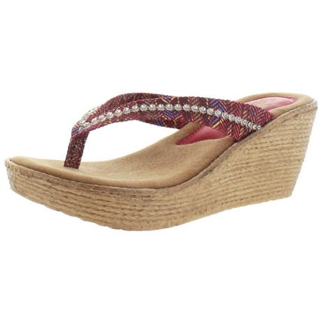 Sbicca Sitar Women's Studded Wedge Flip Flop Sandals Woven Handmade USA