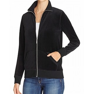 Michael Kors NEW Rich Black Women Size XS Front-Zip Velour Active Jacket