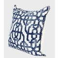"G Home Collection Luxury Blue Classic Geometry Pattern Pillow With Tassels 20""X20"" - Thumbnail 1"