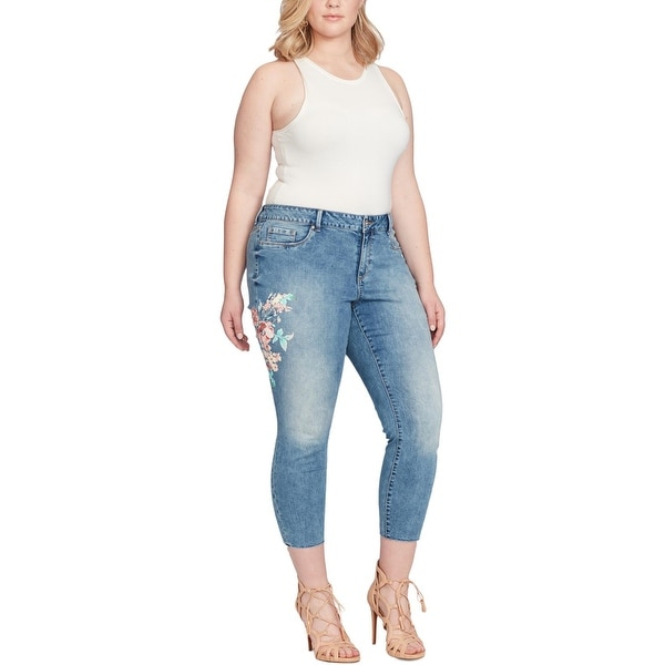 79a81b091299d Shop Jessica Simpson Womens Plus Kiss Me Ankle Jeans Jegging Frayed ...