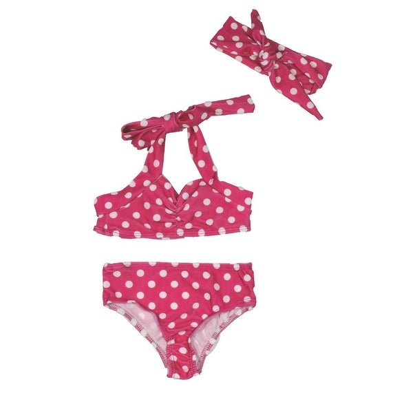 Baby Girls Hot Pink Retro Polka Dot Headband Halter-Tie 3 Pc Swimsuit 3-6M