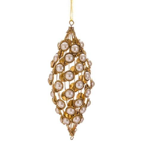 "9"" Glamour Time Gold Glitter and Pearl Christmas Tear Drop Ornament"