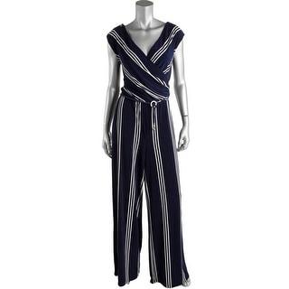 Ralph Lauren Womens Jumpsuit Cap Sleeve Striped