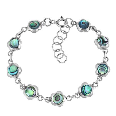 Handmade Cute Daisy Flower Rainbow Abalone Shell Sterling Silver Chain Link Bracelet (Thailand)