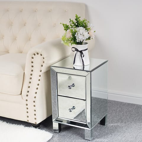 Bedroom Nightstand Mirror Two Drawer Bedside Table Silver