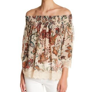 dd6a14488834c4 Willow   Clay Beige Women s Size Medium M Off Shoulder Lace Blouse